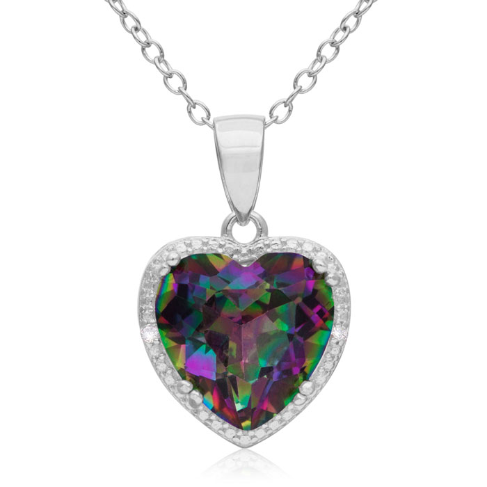 3ct Mystic Topaz and Diamond Heart Necklace + FREE Matching Earrings!