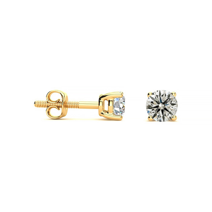 1/2ct Diamond Stud Earrings in 14k Yellow Gold - FREE Matching Diamond Pendant Appraised Together at $1,300!