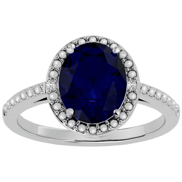 Giant 3 ½ Carat Sapphire and Diamond Halo Ring