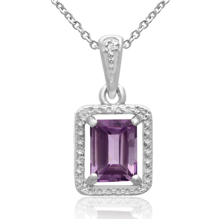 1 1/2ct Amethyst and Diamond Halo Necklace
