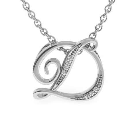 D Initial Necklace In White Gold With 7 Diamonds