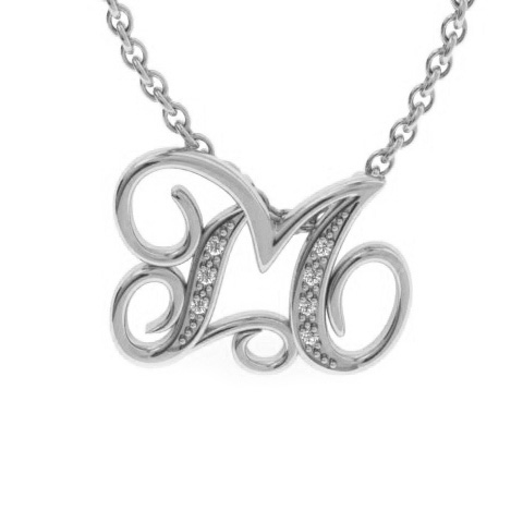 M Initial Necklace In White Gold With 7 Diamonds