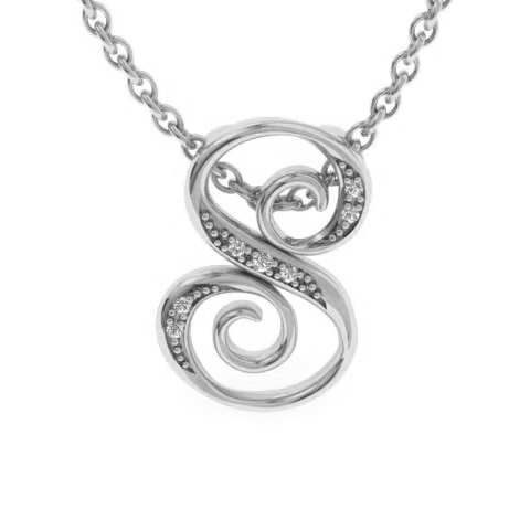 S Initial Necklace In White Gold With 7 Diamonds