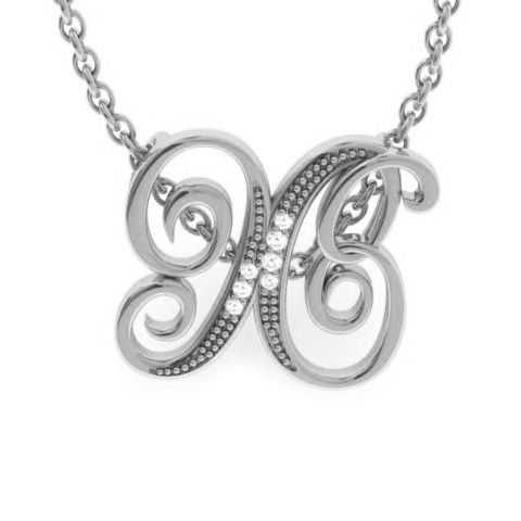 X Initial Necklace In White Gold With 7 Diamonds
