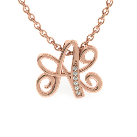 A Initial Necklace In Rose Gold With 6 Diamonds