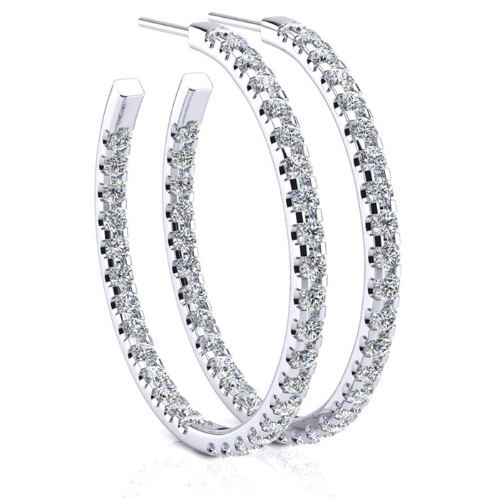 3ct Diamond Hoop Earrings in 14k White Gold