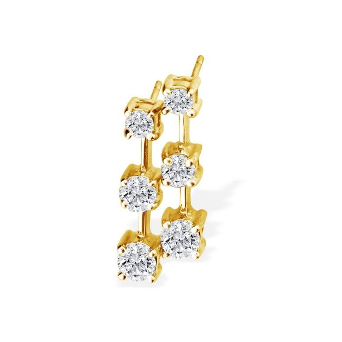 Very Popular 1/2ct Three Diamond Earrings in 14k Yellow Gold