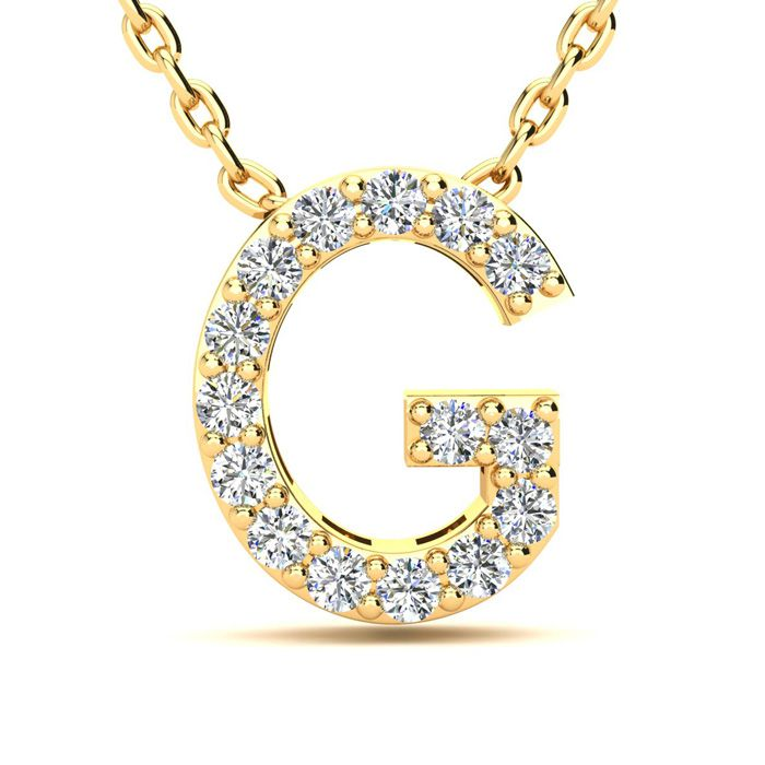G Initial Necklace In Yellow Gold With 15 Diamonds