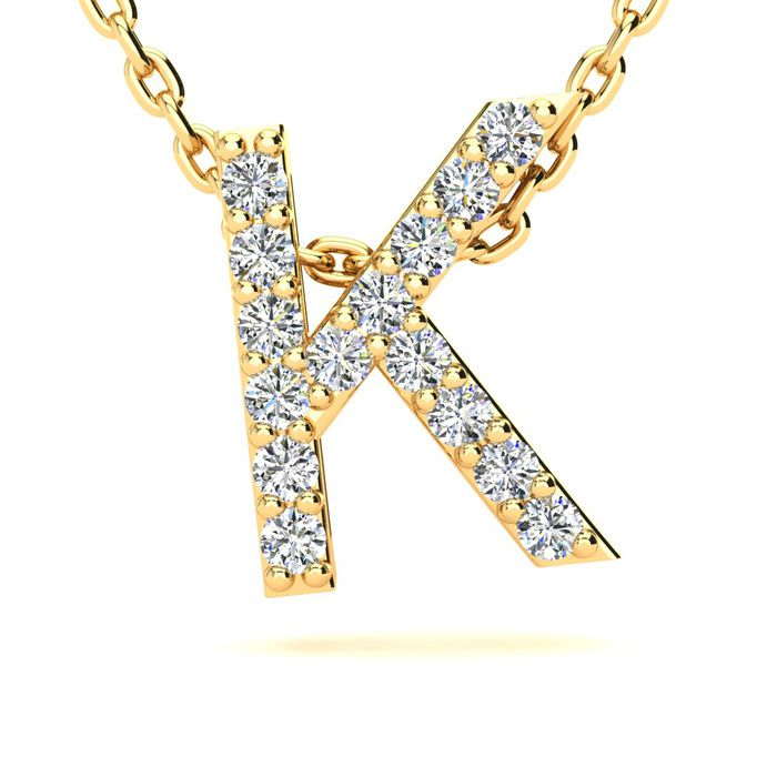 K Initial Necklace In Yellow Gold With 15 Diamonds