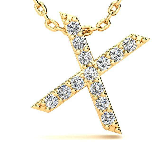 X Initial Necklace In Yellow Gold With 13 Diamonds