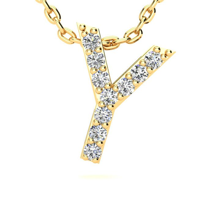 Y Initial Necklace In Yellow Gold With 10 Diamonds