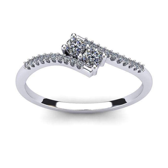 1/4 Carat Two Stone Diamond Bonded Love Ring In White Gold