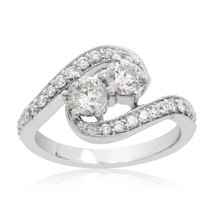 1 Carat Two Stone Diamond Swirl Ring In 14K White Gold