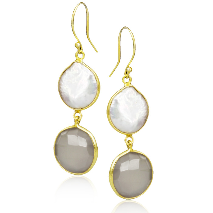 20 Carat Grey Onyx and Pearl Earrings in Sterling Silver with Gold Overlay
