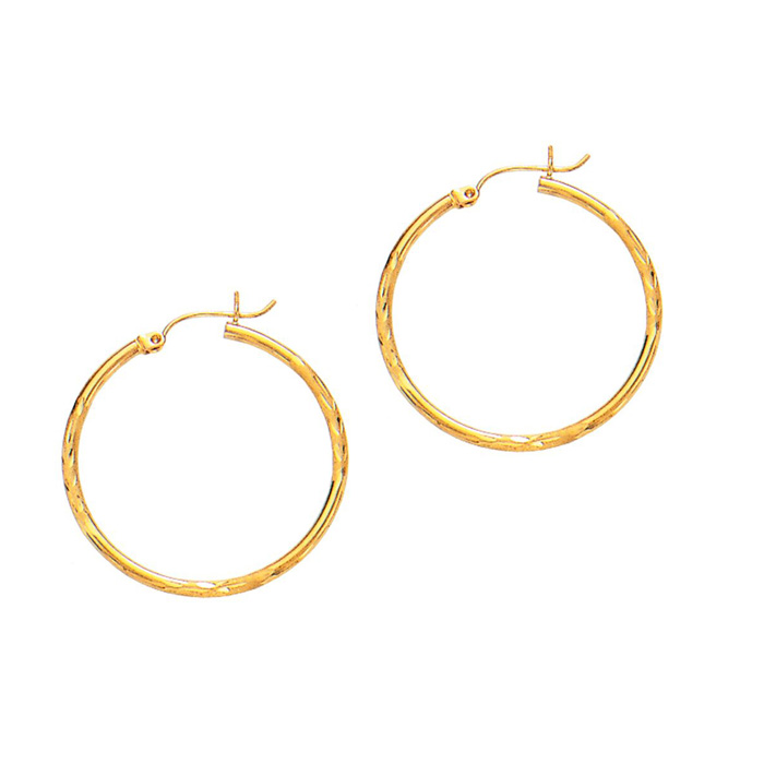 14 Karat Yellow Gold Polish Finished 45mm Diamond Cut Hoop Earrings With Hinge With Notched Closure