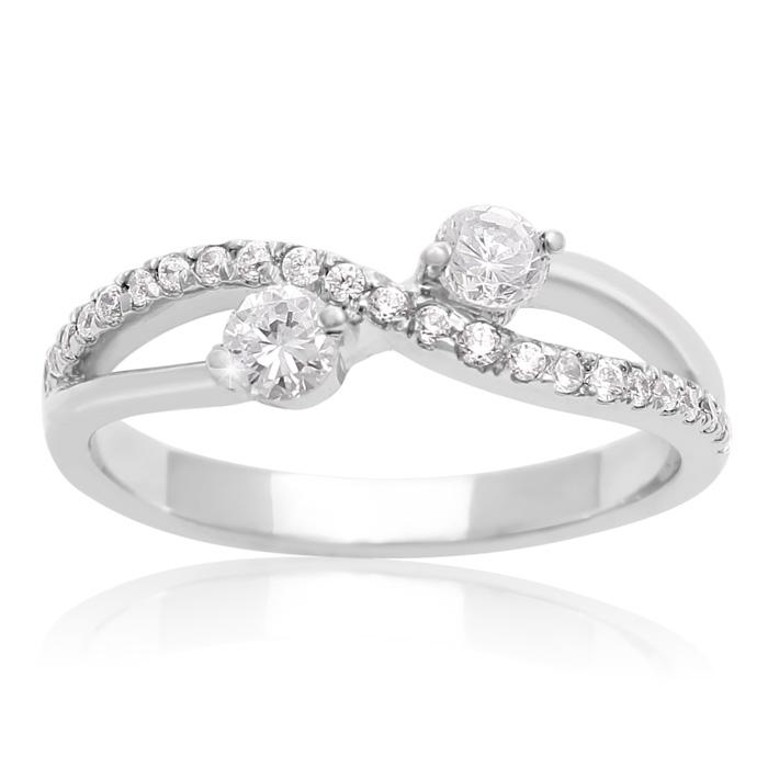 3/8 Carat Two Stone Diamond Infinite Love Ring In 10K White Gold