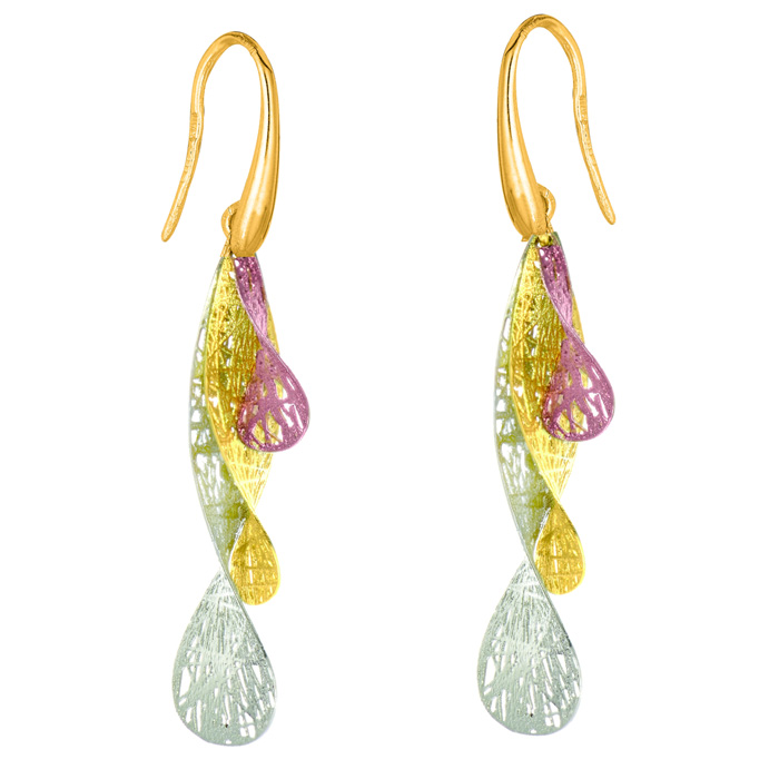 14 Karat Yellow, White and Rose Gold 35x15mm Triple Mesh Leaf Earrings With Fishhook Backs