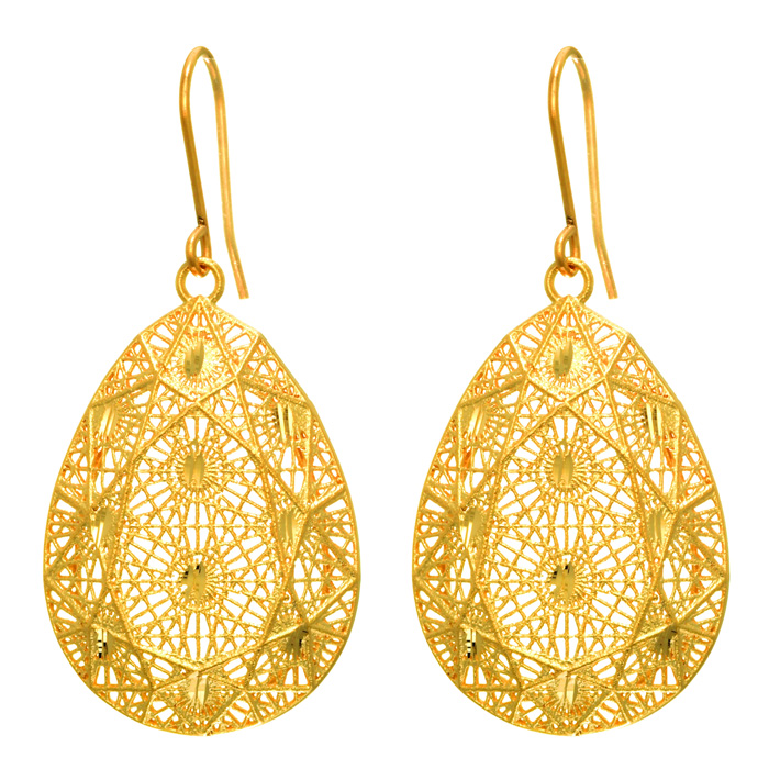 14 Karat Yellow Gold 30x20mm Pear Shaped Mesh Dangle Earrings With Fishhook Backs