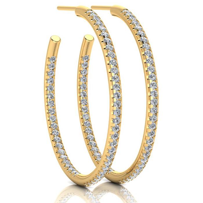 14K Yellow Gold 1 Carat Diamond Three Quarter Hoop