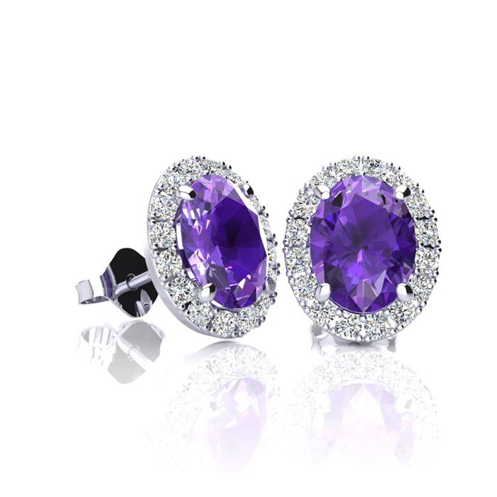 1 Carat Oval Shape Amethyst and Halo Diamond Stud Earrings In 14 Karat White Gold