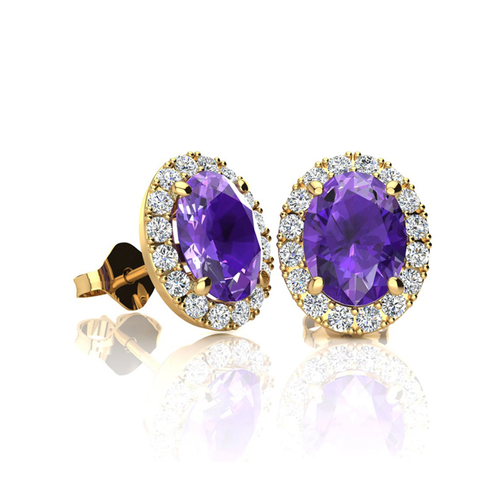 1 Carat Oval Shape Amethyst and Halo Diamond Stud Earrings In 14 Karat Yellow Gold