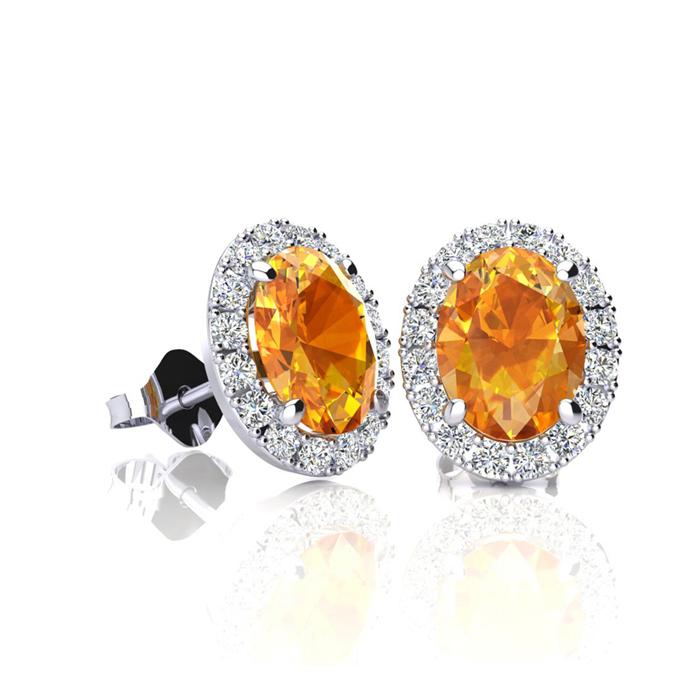 1 Carat Oval Shape Citrine and Halo Diamond Stud Earrings In 10 Karat White Gold