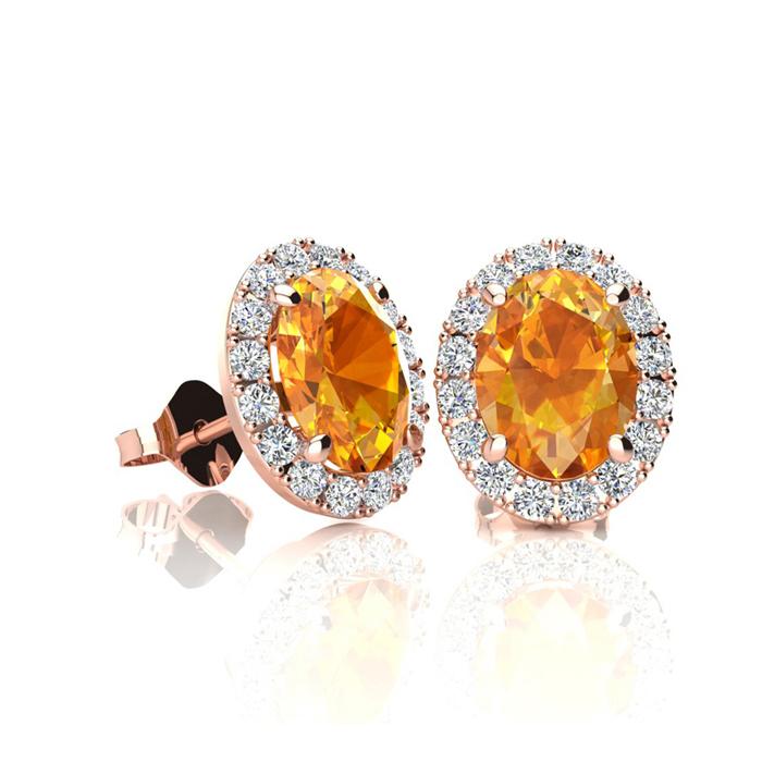 1 Carat Oval Shape Citrine and Halo Diamond Stud Earrings In 10 Karat Rose Gold
