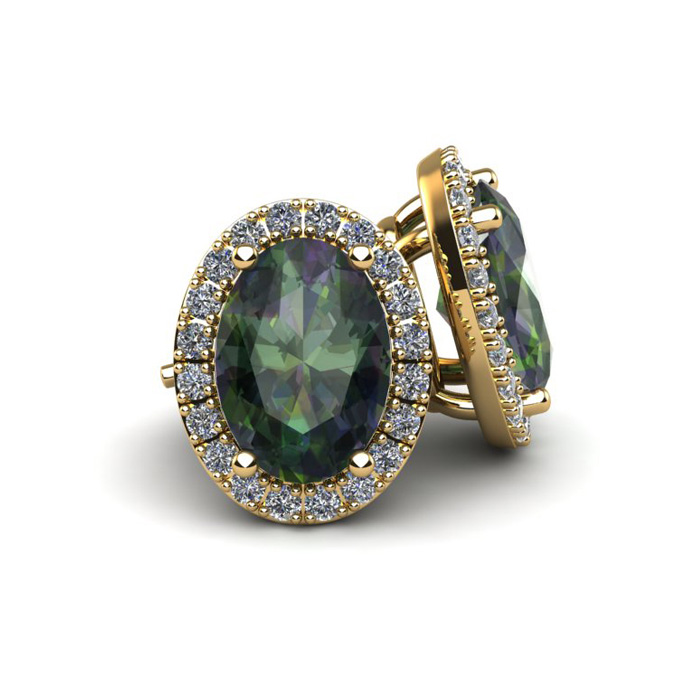 1 1/4 Carat Oval Shape Mystic Topaz and Halo Diamond Stud Earrings In 14 Karat Yellow Gold