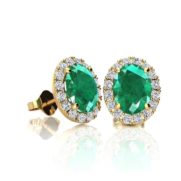 1 Carat Oval Shape Emerald and Halo Diamond Stud Earrings In 10 Karat Yellow Gold