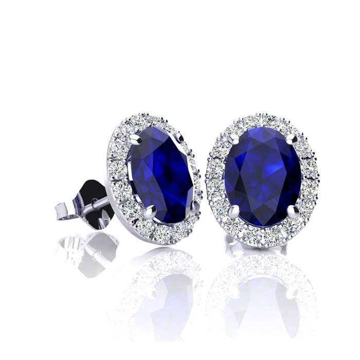 1 1/3 Carat Oval Shape Sapphire and Halo Diamond Stud Earrings In 14 Karat White Gold