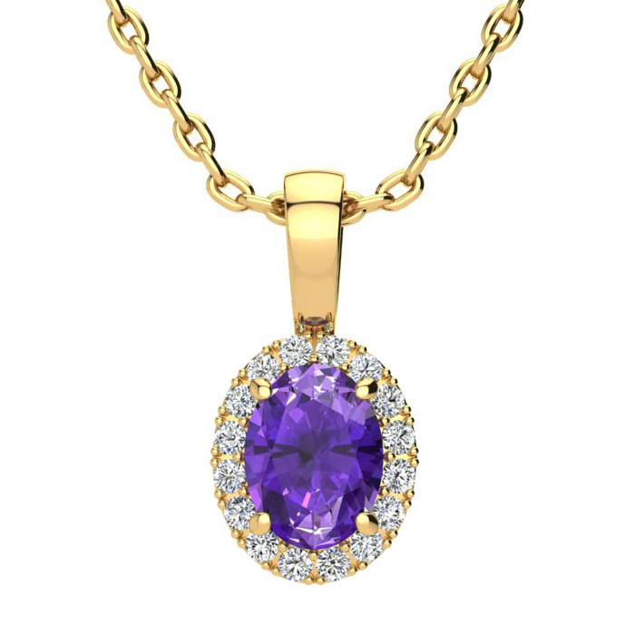 3/4 Carat Oval Shape Amethyst and Halo Diamond Necklace In 10 Karat Yellow Gold With 18 Inch Chain