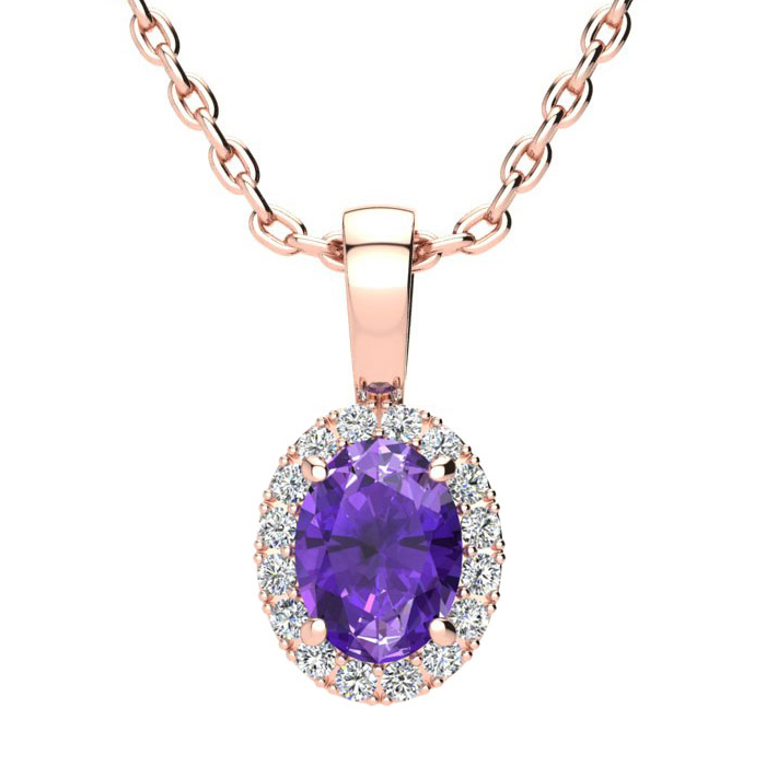 3/4 Carat Oval Shape Amethyst and Halo Diamond Necklace In 14 Karat Rose Gold With 18 Inch Chain