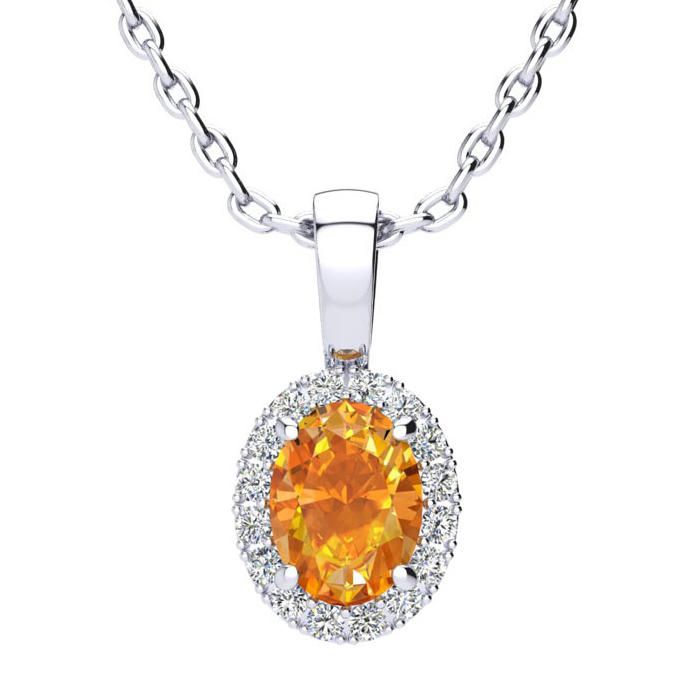 3/4 Carat Oval Shape Citrine and Halo Diamond Necklace In 10 Karat White Gold With 18 Inch Chain