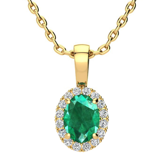 0.90 Carat Oval Shape Emerald and Halo Diamond Necklace In 10 Karat Yellow Gold With 18 Inch Chain