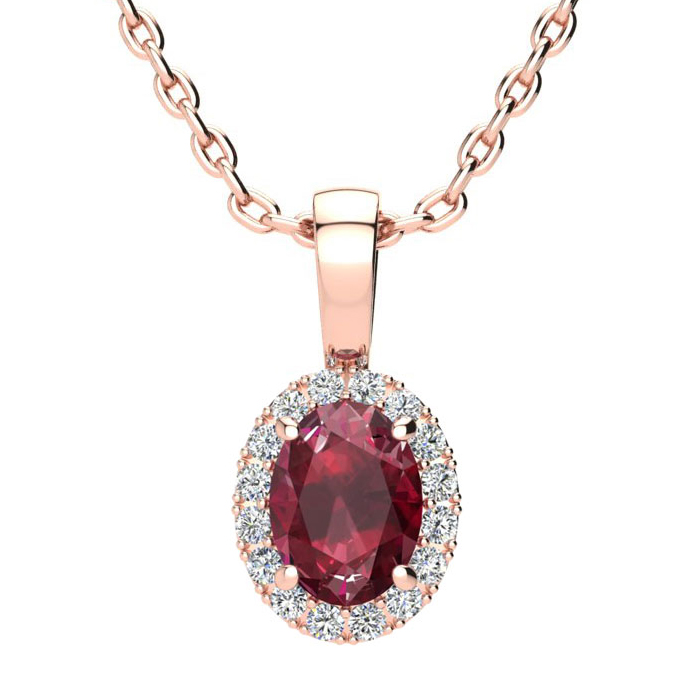 1 Carat Oval Shape Ruby and Halo Diamond Necklace In 10 Karat Rose Gold With 18 Inch Chain