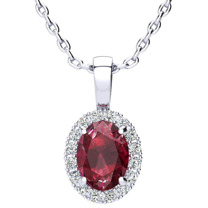 1 3/4 Carat Oval Shape Ruby and Halo Diamond Necklace In 10 Karat White Gold With 18 Inch Chain