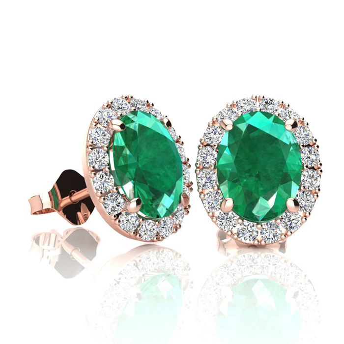 1 3/4 Carat Oval Shape Emerald and Halo Diamond Stud Earrings In 10 Karat Rose Gold