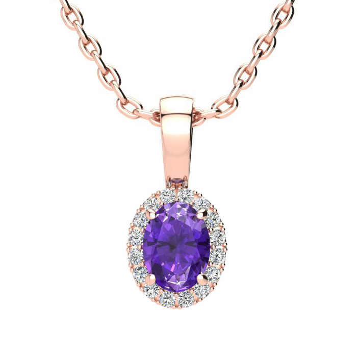 1/2 Carat Oval Shape Amethyst and Halo Diamond Necklace In 10 Karat Rose Gold With 18 Inch Chain