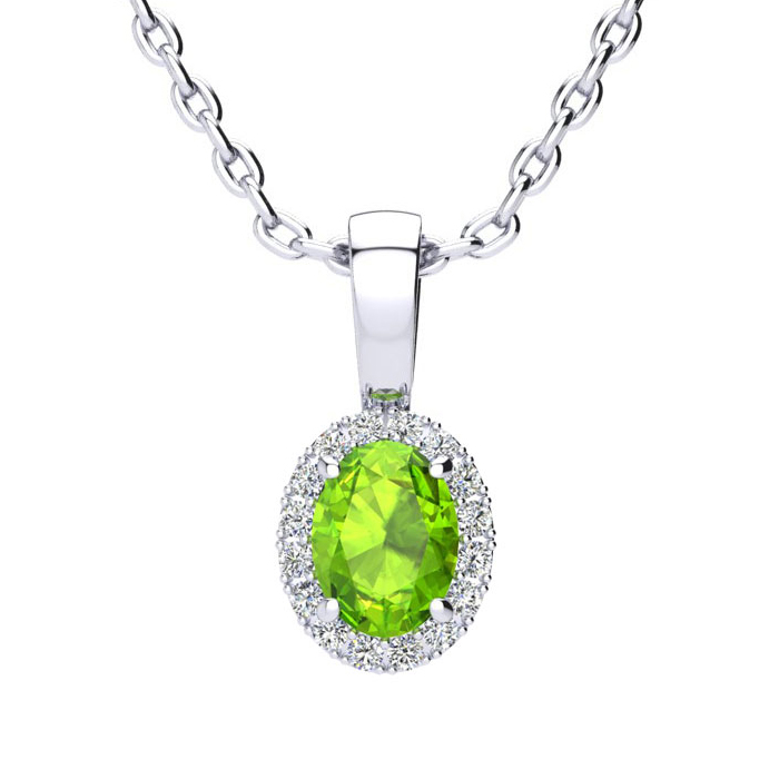 1/2 Carat Oval Shape Peridot and Halo Diamond Necklace In 10 Karat White Gold With 18 Inch Chain