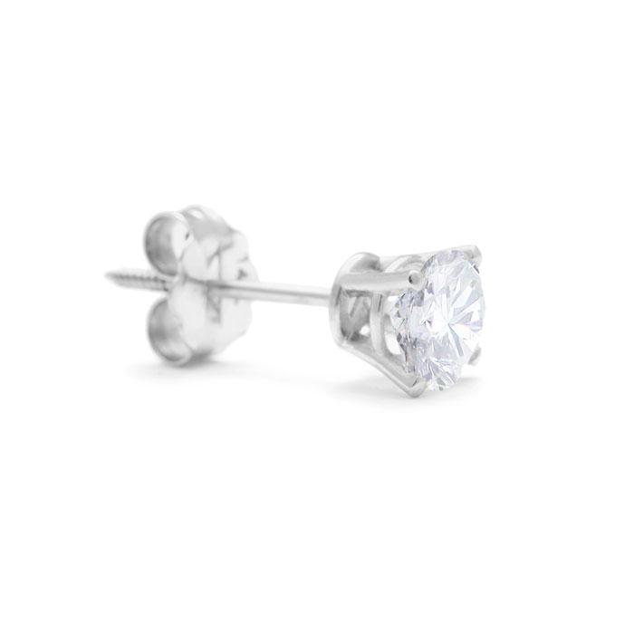 Classic 3/4ct Single Diamond Stud Earring in 14k White Gold