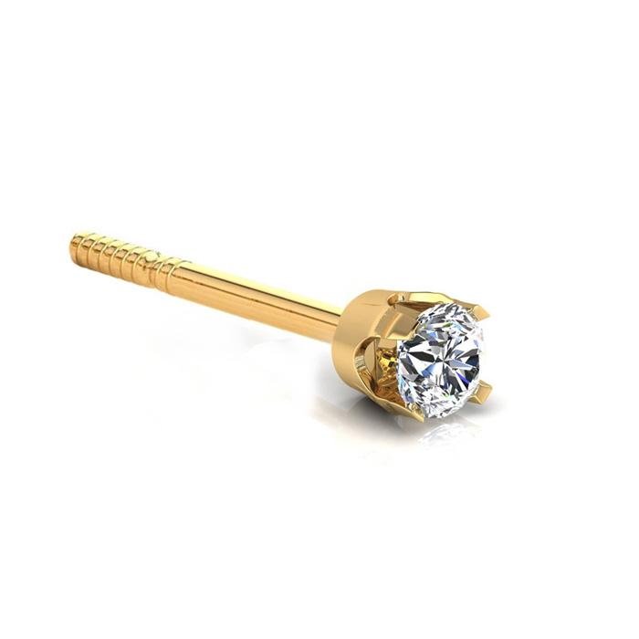 Classic 1/8ct Single Diamond Stud Earring in 14k Yellow Gold