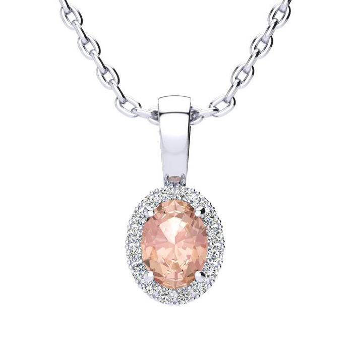 1/2 Carat Oval Shape Morganite and Halo Diamond Necklace In 14 Karat White Gold With 18 Inch Chain