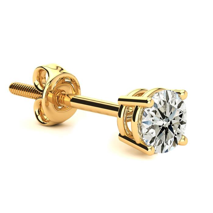 Classic 2/3ct Single Diamond Stud Earring in 14k Yellow Gold