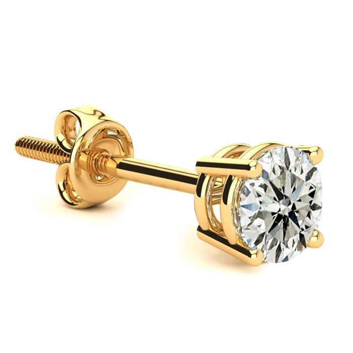 Classic 3/4ct Single Diamond Stud Earring in 14k Yellow Gold