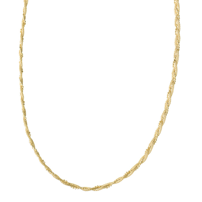 14 Karat Yellow Gold 3.0mm 18 Inch Braided Wheat & Bead Necklace