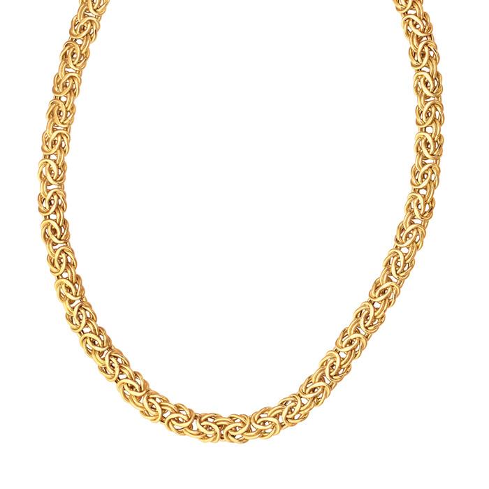 14 Karat Yellow Gold 9.0mm 18 Inch Shiny Byzantine Necklace