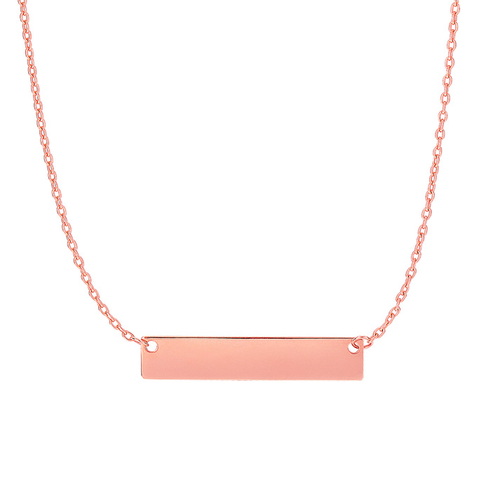 14 Karat Rose Gold 4.9mm 18 Inch Horizontal Bar Necklace