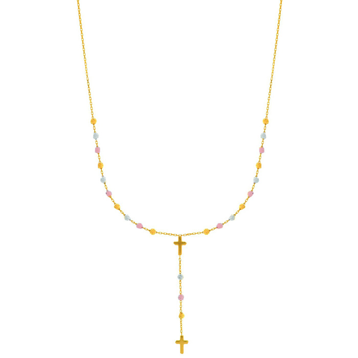 14 Karat Yellow, White & Rose Gold 17 inch Beaded Lariat Rosary & Cross Necklace
