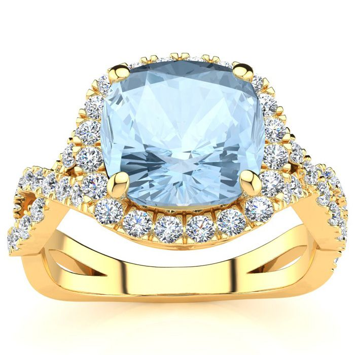 2 1/2 Carat Cushion Cut Aquamarine and Halo Diamond Ring With Fancy Band In 14 Karat Yellow Gold