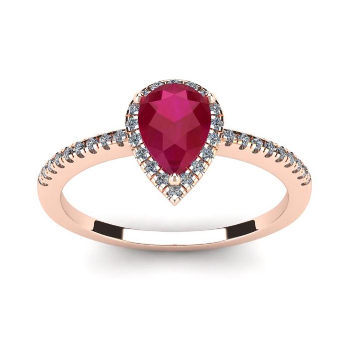 1 Carat Pear Shape Ruby and Halo Diamond Ring In 14 Karat Rose Gold
